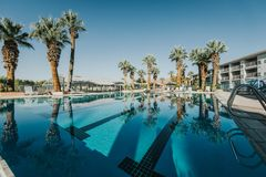 Resort swimming pool during summer stock photos