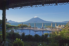 Resort terrace with volcano Stock Images