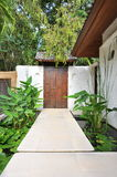 Resort in Thailand. Wooden door in villa, Eco resort in Thailand Royalty Free Stock Photography