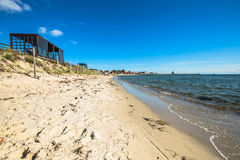 Resort town of Hel in Pomerania, Poland, promenade and beach at Royalty Free Stock Photos