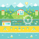 Resort Town Landscape. Mountains, Houses, Trees, Cafe, Beach, Ocean. Tourism and Recreation Concept. Illustation of resort town on sea coast Royalty Free Stock Photography
