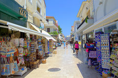 Resort town main street,Greece. The main commercial street with souvenir shops in Argostoli town,Kefalonia island,Greece Royalty Free Stock Photography