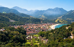 Resort Town near Beach surrounded by Mountains in Brazil Stock Photo