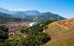 Resort Town near Beach surrounded by Mountains in Brazil Royalty Free Stock Images