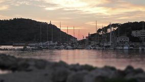 Resort town Port de Soller stock footage