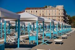 The Resort Town of Viareggio. The fancy beach huts in the coastal resort city of Viareggio, Italy stock photo