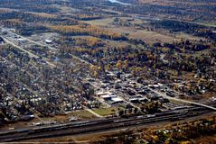 Resort town in Western USA. Aerial view of Whitefish a small resort town in Western Montana USA Stock Photography