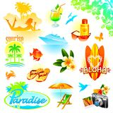 Resort, travel and exotic holidays set Stock Images