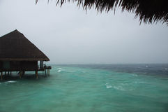 Resort during a tropical downpour. In the rainy season Royalty Free Stock Photography