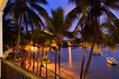 Resort. Tropical resort on the West coast of Mauritius island at sunset time. Palm trees against sunset on the coast. View from hotel room Stock Image