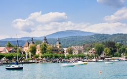 Resort Velden am Worthersee See and Lake Worth. Austria Stock Photography