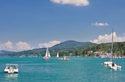 Resort Velden am Worthersee See and Lake Worth. Austria Royalty Free Stock Photo
