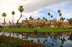 Resort View. View of Resort with Palms in Palm Springs, California Stock Photos