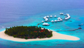Resort view from seaplane Royalty Free Stock Images