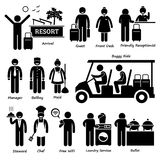 Resort Villa Hotel Tourist Worker and Services Cliparts Stock Photo