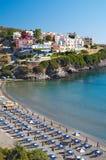 Resort village. Coastal view of resort village stock photo