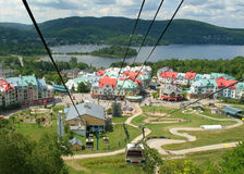 Resort Village of Mont Tremblant. Upper resort village of Mont Tremblant, Place St. Bernard, seen from the cable car in summer Royalty Free Stock Image