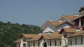 Resort village in the mountains stock footage