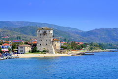 Resort village old tower,Greece Royalty Free Stock Image