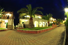 Resort villas and garden at night Royalty Free Stock Photo