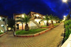 Resort villas at night Royalty Free Stock Image