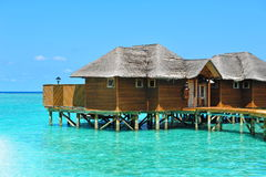 Resort with water bungalows in Maldives Stock Images
