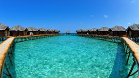Resort with water bungalows in Maldives Royalty Free Stock Photography