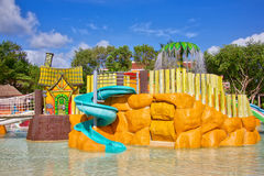 Resort water park. TULUM, MEXICO - December 1, 2016: Kids water park and slides at the Bahia Principe Coba resort in Tulum Mexico Royalty Free Stock Images