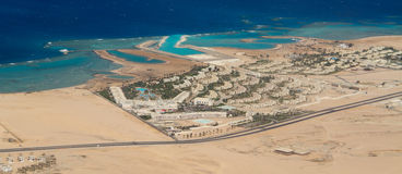 Resorts of Egypt. View of the resort from the height of the flight pticheva Stock Photos