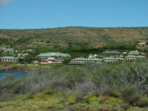 Resorts at Hulopoe Bay. View of luxurious top notch resorts at Hulopoe Bay, Hawaii, whose beach was rated #1 in previous years Stock Images