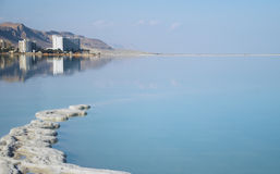 Resorts with mineral salt on the shore of the Dead Sea Royalty Free Stock Photography