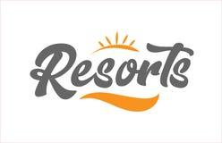 Resorts black hand writing word text typography design logo icon. Resorts word hand writing text typography design with black and orange color suitable for logo stock illustration