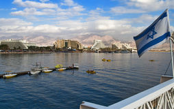 Resot hotels in Eilat. Eilat is Israel's southernmost city, a popular resort, located at the northern tip of the Red Sea, on the Gulf of Eilat Stock Photos
