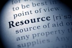 Resource. Fake Dictionary, Dictionary definition of the word Resource Stock Image
