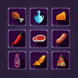 Resource Icons for Games. Food and Potions Royalty Free Stock Photo