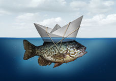 Resource Optimization. Concept as a business symbol for utilization of resources to advance and upgrade a success strategy as a paper boat in water tied to a Stock Photo