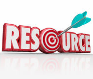 Resource Word Arrow in Target Information Collection Skills Expe Royalty Free Stock Photo