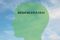 Resourcefulness mentality concept. Render illustration of RESOURCEFULNESS title on head silhouette, with cloudy sky as a background. Human mentality concept stock illustration