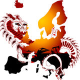 Resources. Dragon is grabbing resources from continent Royalty Free Stock Photos