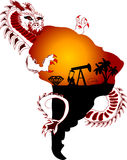 Resources. Dragon is grabbing resources from continent Stock Photography