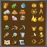 Resources for game. Various elements of the interface of games. Set of simple icons game resources Royalty Free Illustration