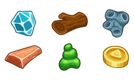Resources For Games Icons Vector Set. Cartoon game  resources set: coin, stone, wood, crystal, nugget and mucus Stock Photo