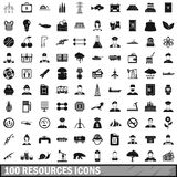 100 resources icons set, simple style. 100 resources icons set in simple style for any design vector illustration Royalty Free Stock Images