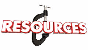 Resources Vice Clamp Squeezing Tight Word Stock Image