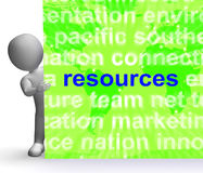 Resources Word Cloud Sign Shows Assets Human Financial Input. Resources Word Cloud Sign Showing Assets Human Financial Input stock illustration