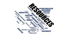 RESOURCES - word cloud wordcloud - terms from the globalization, economy and policy environment Stock Images