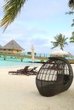 Resourt de las vacaciones de la playa de la tranquilidad de Bora Bora Imagenes de archivo