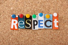 Respect. The word Respect in cut out magazine letters pinned to a cork notice board stock image
