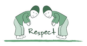 Respect. An illustration of the word Respect. Two people bow to each other over the word Respect. Isolated on a white background. Green monotone Stock Images