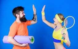 Respect All, Fear None. Athletic Success. Sport equipment. Strong muscles and body. Happy woman bearded man workout in. Respect All, Fear None. Athletic Success royalty free stock photo